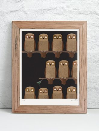 Framed signed Mopoke print | Philip Bunting